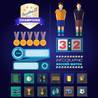 Éléments de football de infographiques