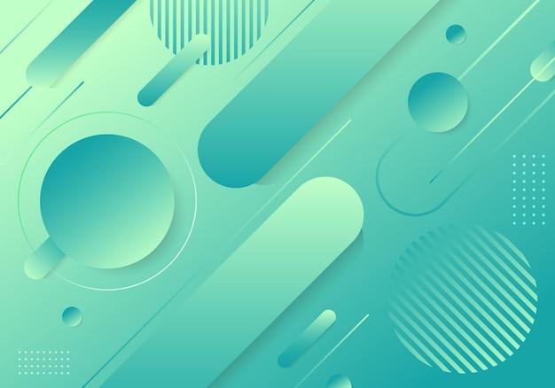Éléments de forme géométrique dégradé vert tendance abstrait composition de fond. illustration vectorielle