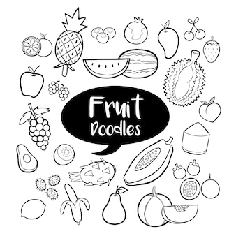 Éléments de fruits avec des gribouillis dessinés à la main