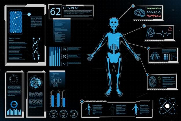 Éléments futuristes analyse humaine information sur la santé