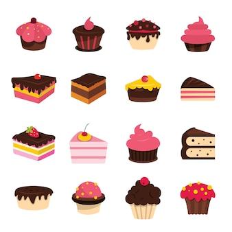 Éléments de gâteau plat de dessin animé mis illustration vectorielle isolé