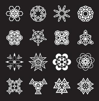 Éléments géométriques abstraits, motif ethnique aztèque ou maya