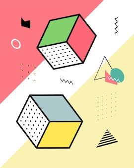 Éléments géométriques dans le style de memphis, chaos géométrique coloré