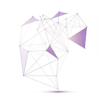 Éléments géométriques à faible polyéthylène abstraite avec des points de connexion et des lignes.