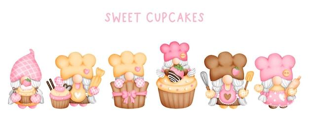 Éléments de gnomes de boulanger aquarelle peinture numérique cupcake gnome