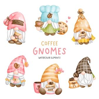 Éléments de gnomes de café aquarelle peinture numérique