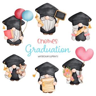 Éléments de gnomes de graduation aquarelle peinture numérique