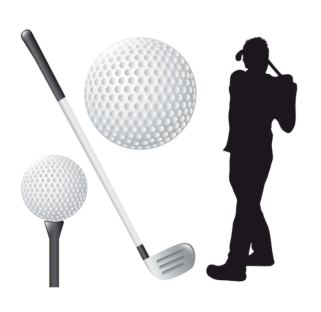 Éléments de golf sur illustration vectorielle fond blanc