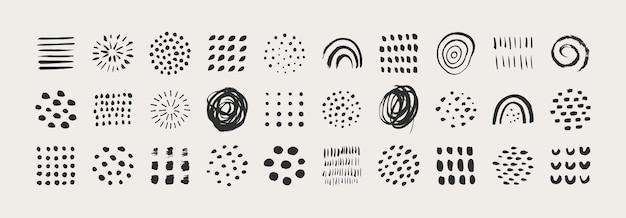 Éléments graphiques abstraits dans un style tendance minimal. ensemble vectoriel de textures dessinées à la main pour créer des motifs, des invitations, des affiches, des cartes, des publications sur les réseaux sociaux et des histoires