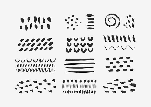 Éléments graphiques abstraits dans un style tendance minimal. ensemble vectoriel de textures dessinées à la main pour créer des motifs, des invitations, des affiches, des cartes, des publications sur les réseaux sociaux