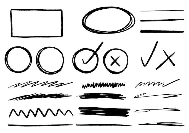 Éléments graphiques de conception doodle dessinés à la main. cercles de flèches dessinés à la main et conception d'écriture abstraite doodle. fond blanc.