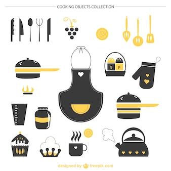Éléments graphiques de cuisine vecteur