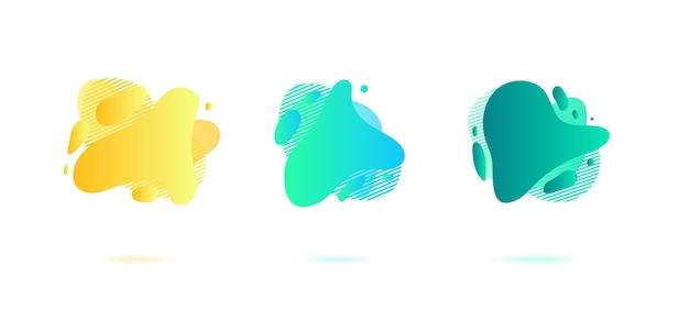 Éléments graphiques dégradés dynamiques abstraits dans un style moderne. bannières aux formes liquides fluides, formes d'amibes.