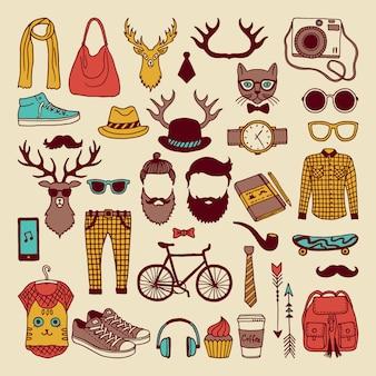 Éléments graphiques modernes dessinés à la main. jeu d'icônes de culture hipsters façonné