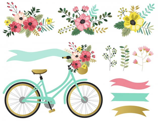 Éléments graphiques de printemps sertie de fleurs.