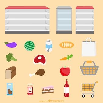 Éléments graphiques de supermarchés établis