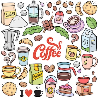 Éléments graphiques vectoriels colorés de café et illustrations de griffonnage