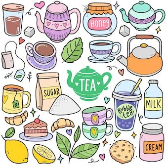 Éléments graphiques vectoriels colorés de l'heure du thé et illustrations de griffonnage