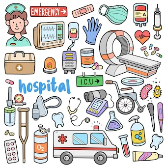 Éléments graphiques vectoriels colorés de l'hôpital et illustrations de griffonnage