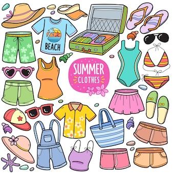 Éléments graphiques vectoriels colorés de vêtements d'été et illustrations de griffonnage