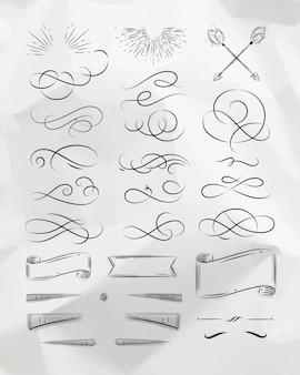 Éléments graphiques vintage calligraphiques