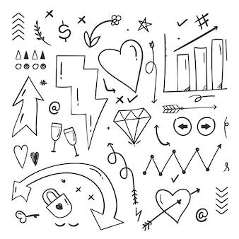 Éléments de griffonnage abstraits dessinés à la main