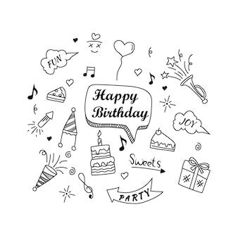 Éléments de griffonnage joyeux anniversaire isolés sur fond blanc illustration vectorielle