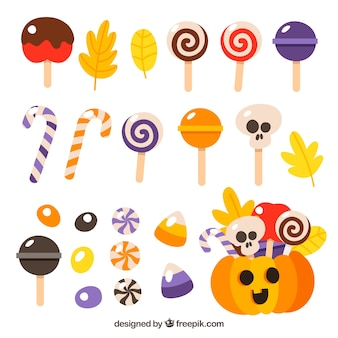 Eléments de halloween avec des bonbons