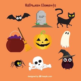 Éléments de halloween colorés dans le style plat