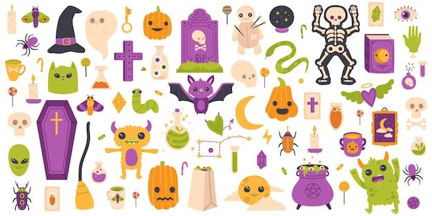 Éléments d'halloween. ensemble de symboles vectoriels isolés à la main, citrouille d'halloween, pierre tombale, fantôme et chauve-souris. icônes effrayantes de décoration d'halloween. illustration d'éléments d'automne effrayant citrouille et halloween
