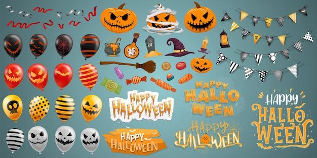 Éléments d'halloween heureux