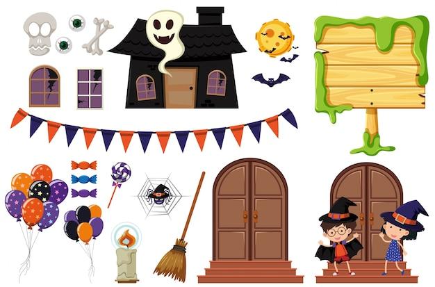 Éléments d'halloween avec la maison hantée et les enfants