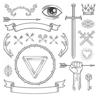 Éléments héraldiques d'art de ligne de style de tatouage abstrait.