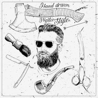 éléments de hipster dessinés à la main