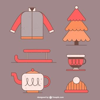 Éléments d'hiver dessinés à la main en design plat