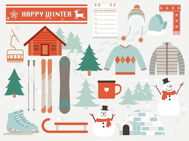 Éléments d'hiver heureux, design plat