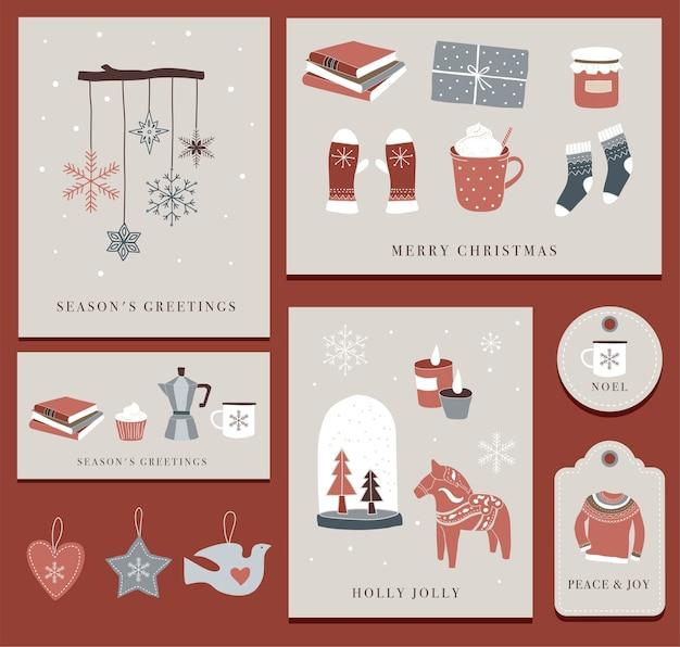 Éléments d'hiver nordiques et scandinaves et concept hygge, carte de joyeux noël, bannière, arrière-plan, dessinés à la main