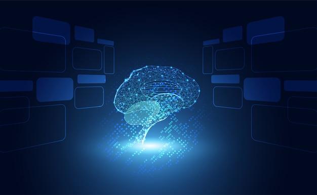 Éléments d'hologramme du cerveau du numérique