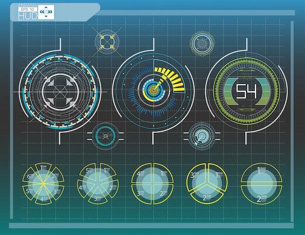 Éléments de hud, graphique illustration vectorielle éléments d'affichage tête haute pour le web.