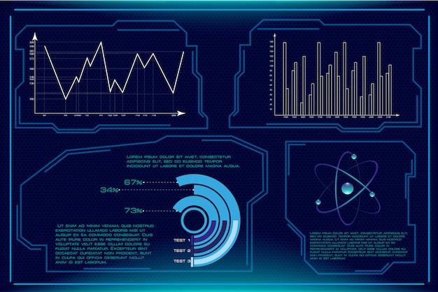Éléments de hud vectoriels définis pour une interface utilisateur futuriste
