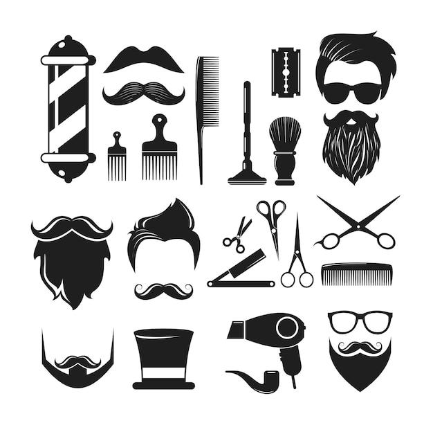 Éléments d'icône de salon de coiffure