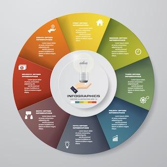 Éléments d'infographie de 8 camembert moderne.
