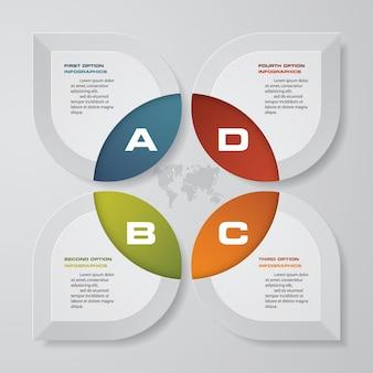 Éléments d'infographie abstrait 4 étapes graphique