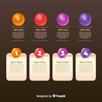 Éléments d'infographie brillants réalistes