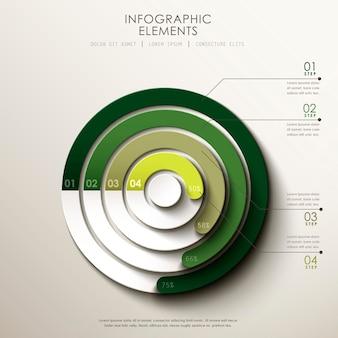 Éléments d'infographie de camembert 3d abstrait réaliste