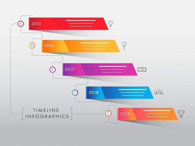 Éléments d'infographie de chronologie colorée sur fond gris. année