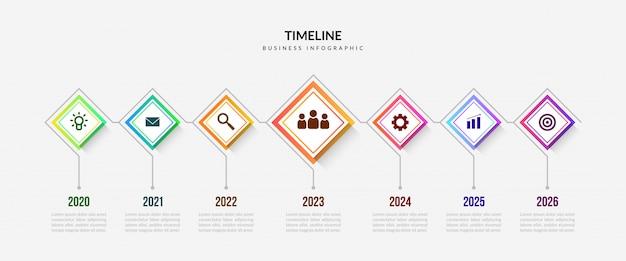 Éléments d'infographie de chronologie d'entreprise, graphique de processus coloré avec des segments modifiables