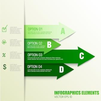 Éléments d'infographie de concept d'entreprise finance avec des champs de texte ordonnés dans des couleurs vertes