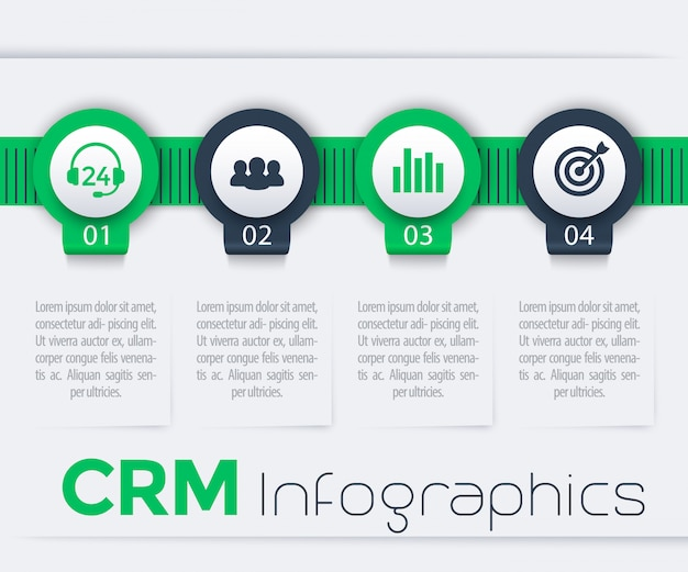 Éléments d'infographie crm, 1, 2, 3, 4 étapes, chronologie, rapport, en vert et bleu