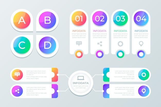 Éléments d'infographie dégradé coloré